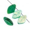Glass Bead Leaf 12x7mm Emerald Aurora Borealis Half Coating Strung